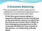 ii economic balancing