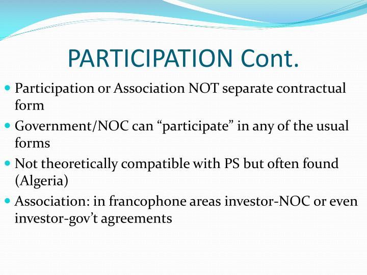 PARTICIPATION Cont.