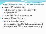 participation joint venture arrangements