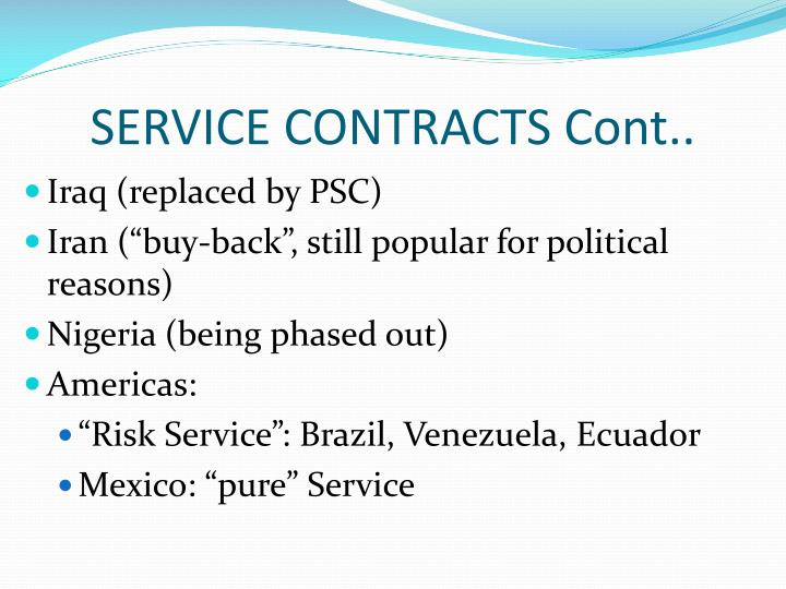 SERVICE CONTRACTS Cont..