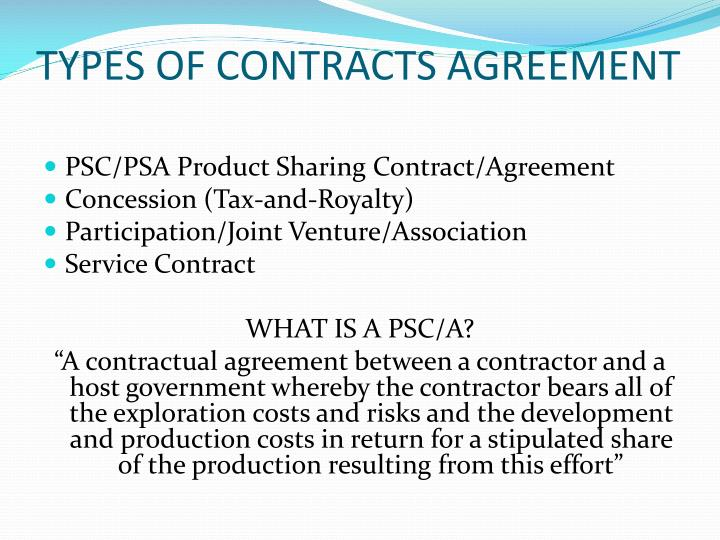 Types of contracts agreement