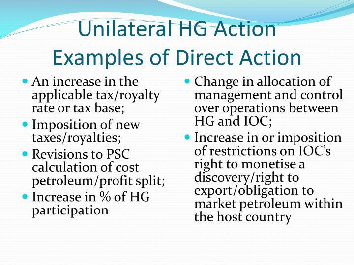 Unilateral HG Action