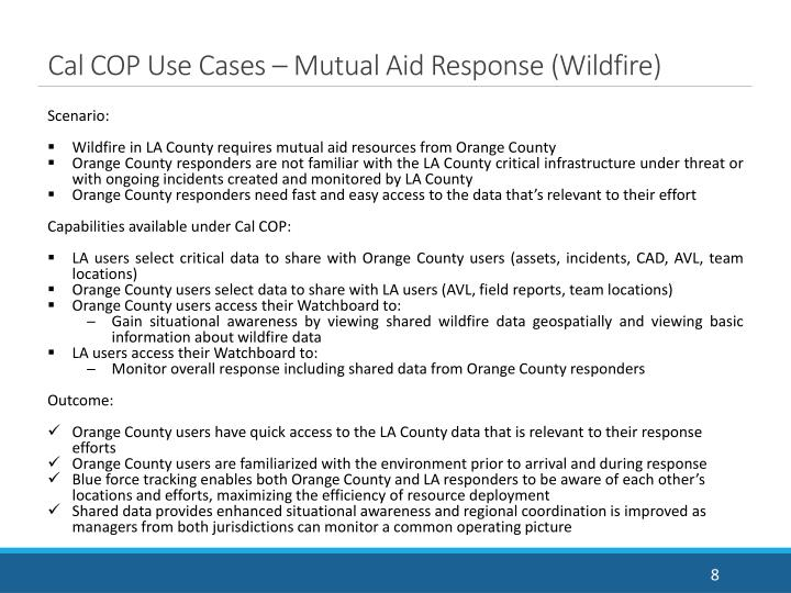 Cal COP Use Cases – Mutual Aid Response (Wildfire)