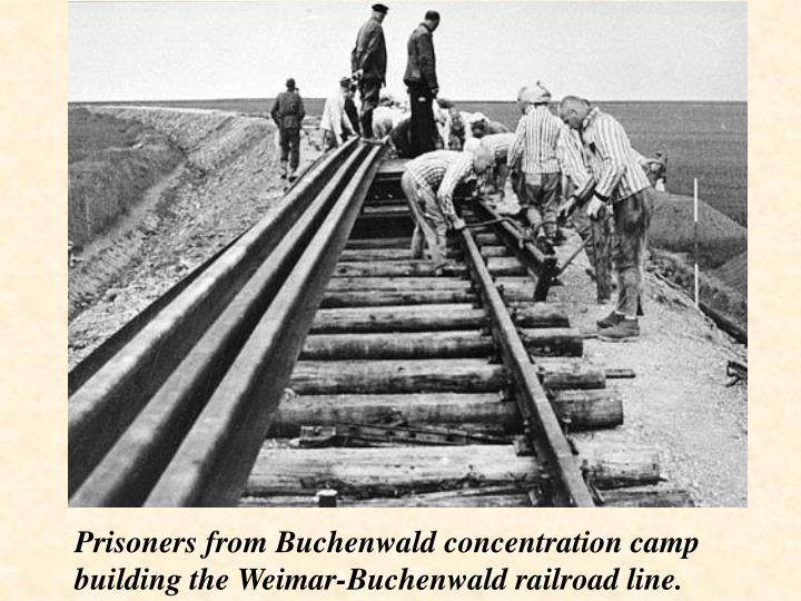 Prisoners from Buchenwald concentration camp building the Weimar-Buchenwald railroad line.