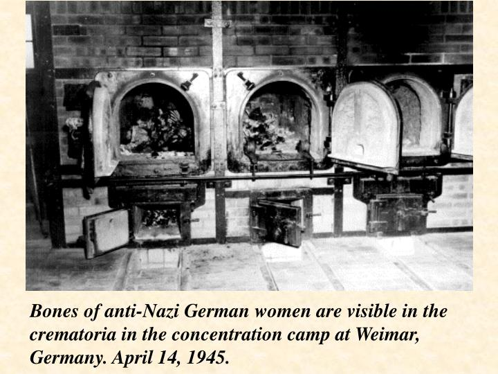 Bones of anti-Nazi German women are visible in the crematoria in the concentration camp at Weimar, Germany. April 14, 1945.