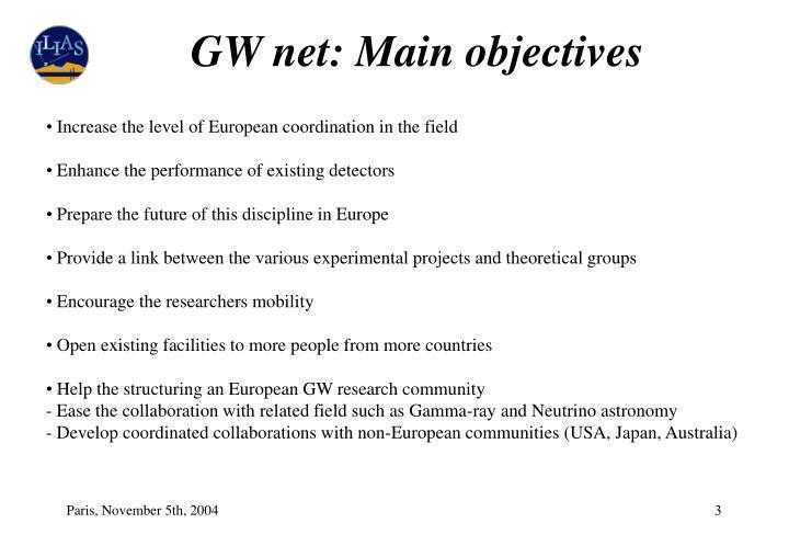 GW net: Main objectives