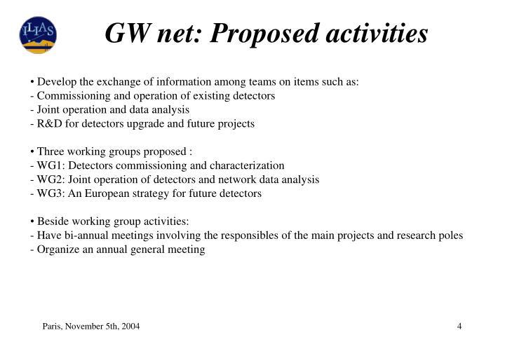 GW net: Proposed activities
