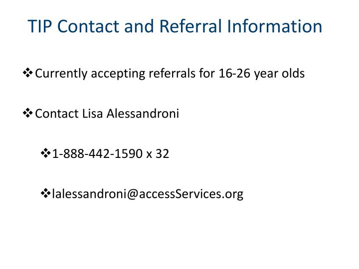 TIP Contact and Referral Information