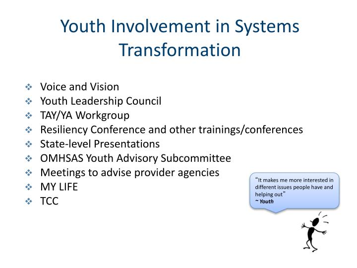 Youth Involvement in Systems Transformation