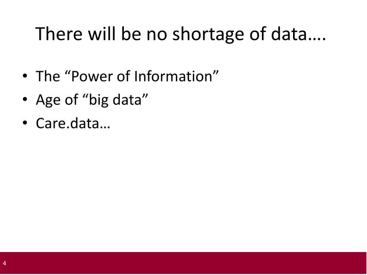 There will be no shortage of data….