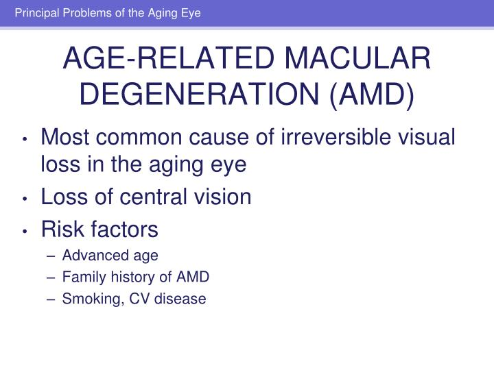 Most common cause of irreversible visual loss in the aging eye