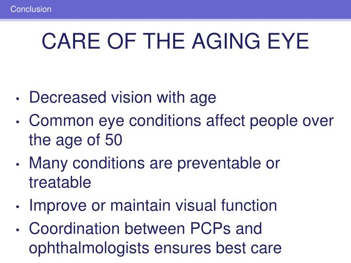 Decreased vision with age