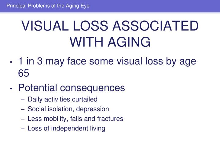 1 in 3 may face some visual loss by age 65