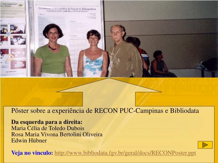 Pôster sobre a experiência de RECON PUC-Campinas e Bibliodata