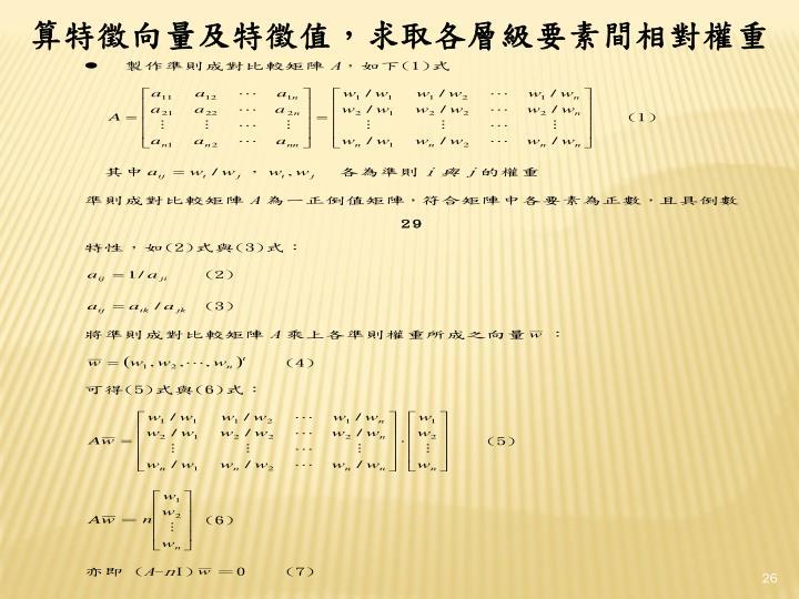 算特徵向量及特徵值,求取各層級要素間相對權重