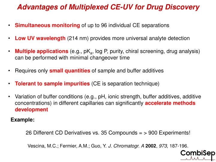 Advantages of Multiplexed CE-UV for Drug Discovery