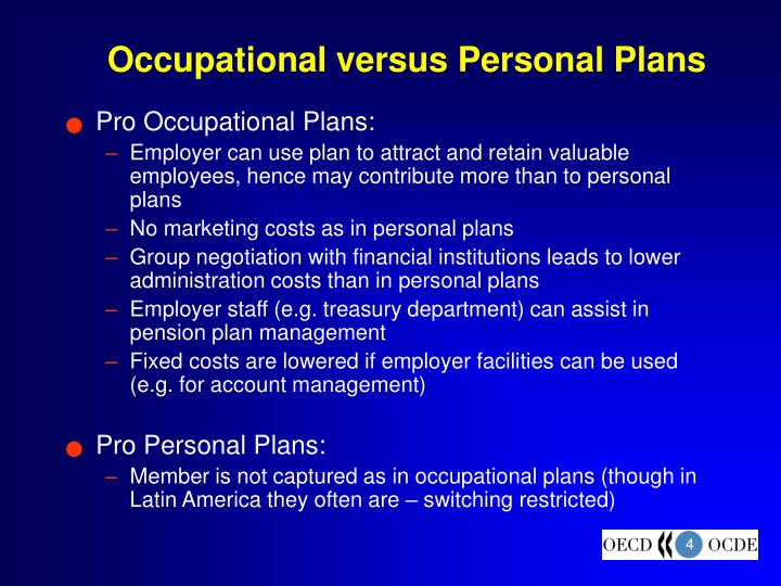 Occupational versus Personal Plans