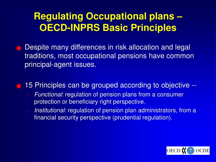 Regulating Occupational plans – OECD-INPRS Basic Principles