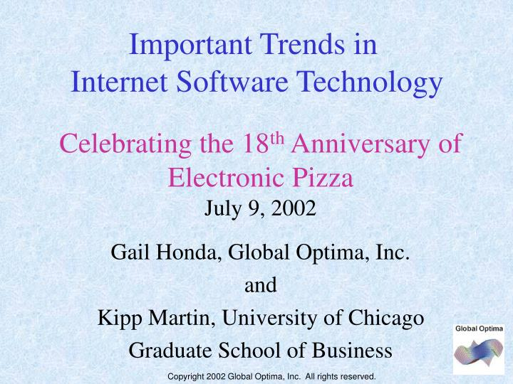 Celebrating the 18 th anniversary of electronic pizza july 9 2002