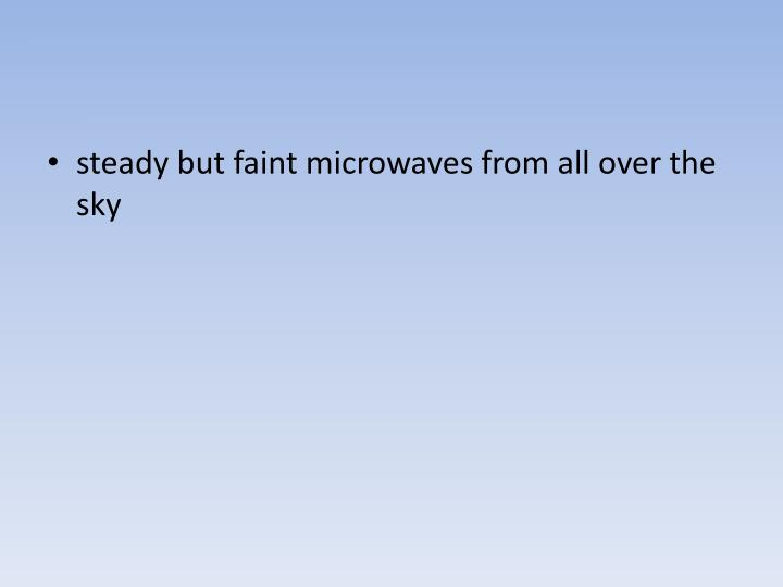 steady but faint microwaves from all over the sky