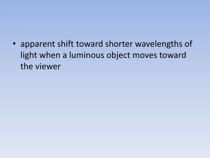 apparent shift toward shorter wavelengths of light when a luminous object moves toward the