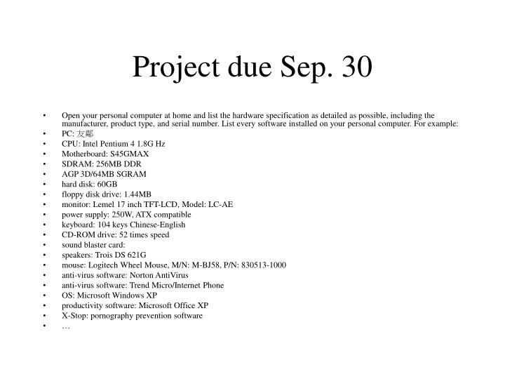 Project due Sep. 30