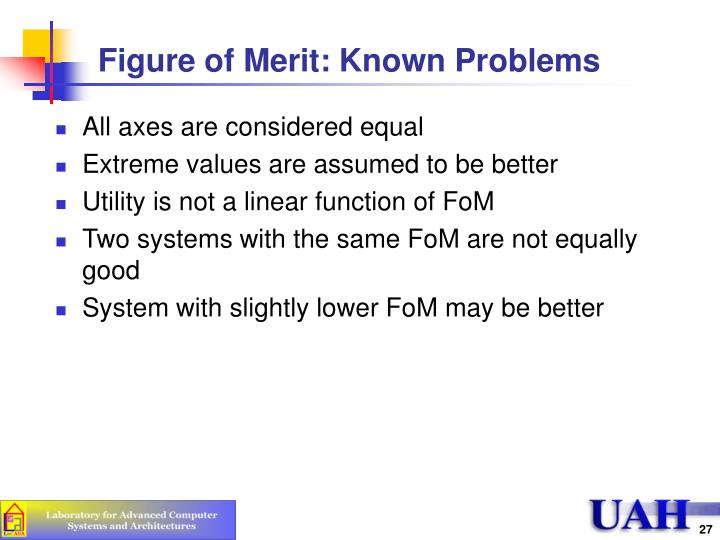 Figure of Merit: Known Problems