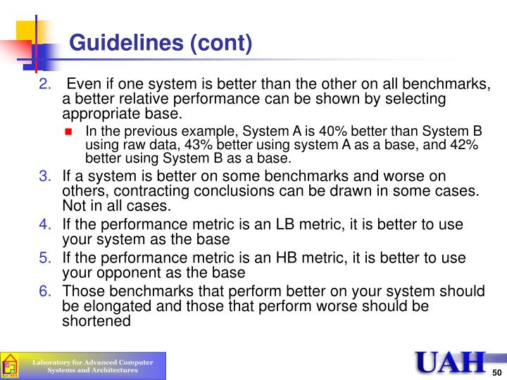 Guidelines (cont)