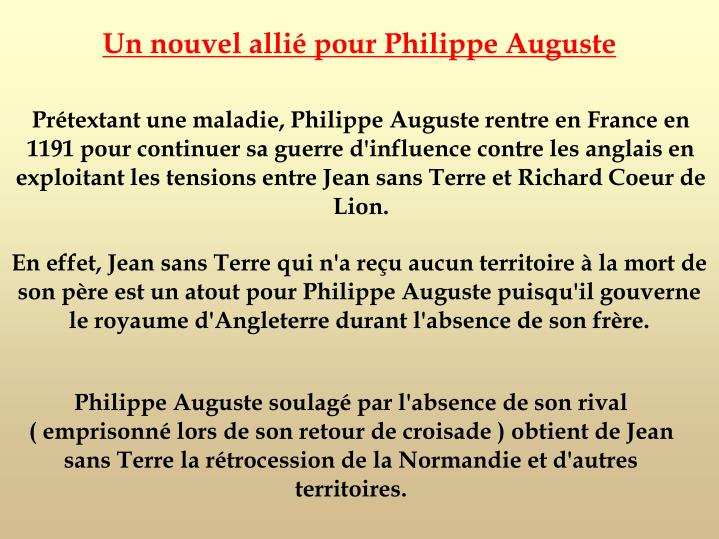 Un nouvel allié pour Philippe Auguste