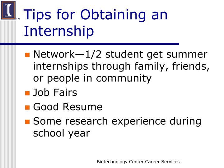 Tips for Obtaining an Internship
