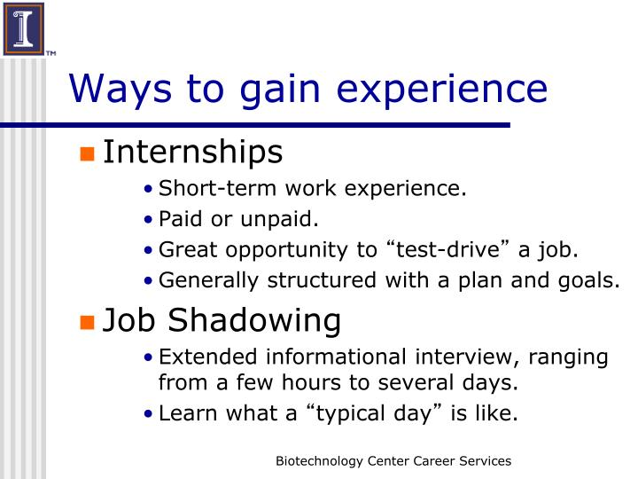 Ways to gain experience