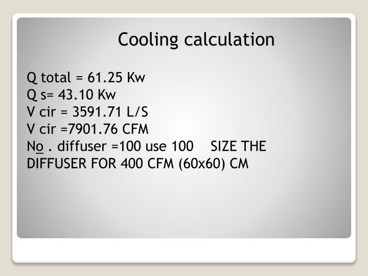 Cooling calculation