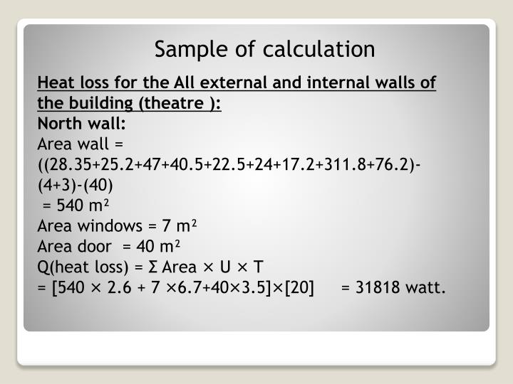 Sample of calculation