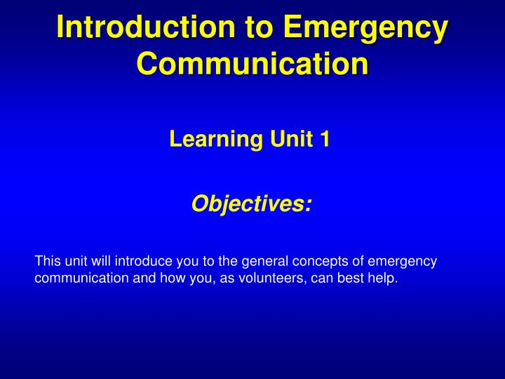 Introduction to Emergency