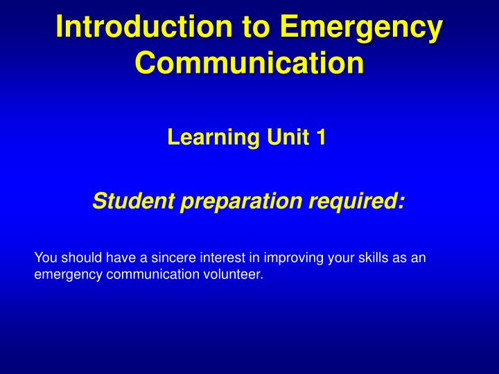 Introduction to emergency communication1