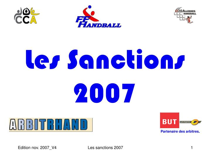 Les sanctions 2007