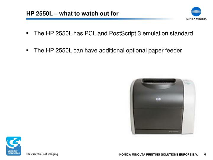 HP 2550L – what to watch out for