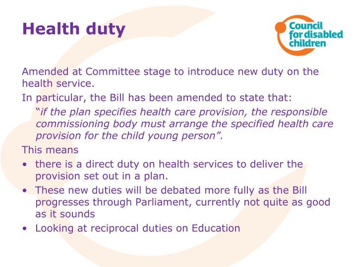 Health duty