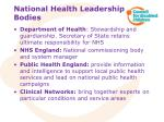 national health leadership bodies