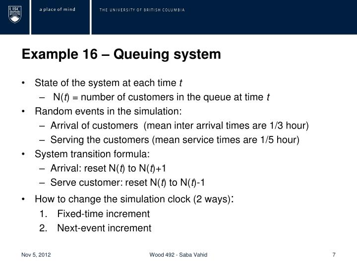 Example 16 – Queuing system