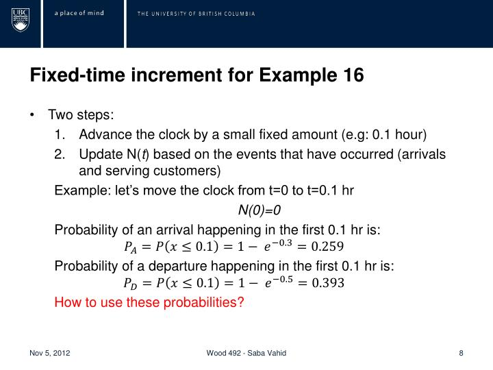 Fixed-time increment for Example 16