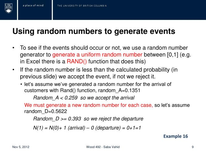Using random numbers to generate events
