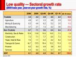 low quality sectoral growth rate 2000 base year year on year growth rate