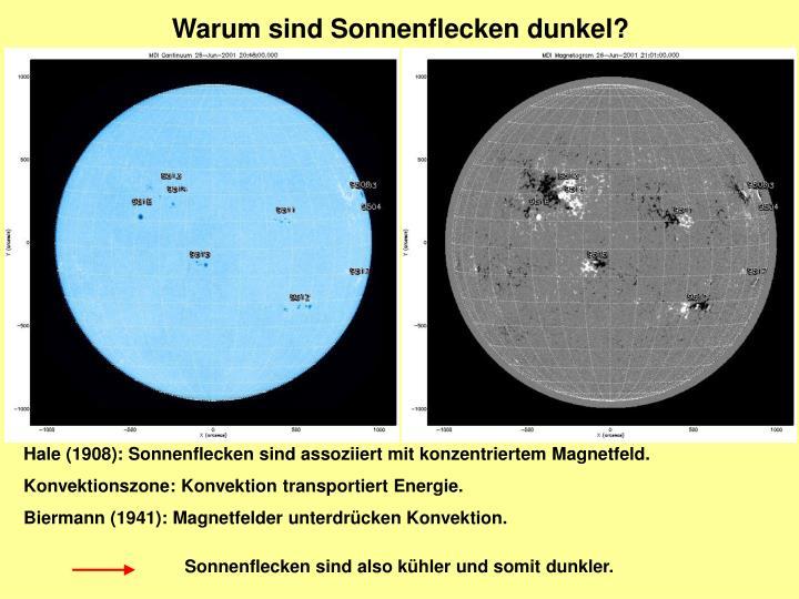 Warum sind Sonnenflecken dunkel?