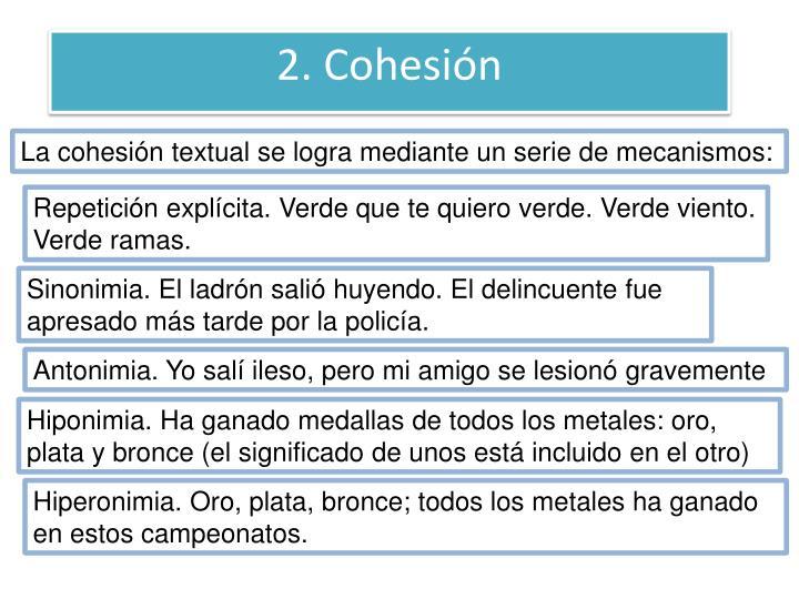 2. Cohesión