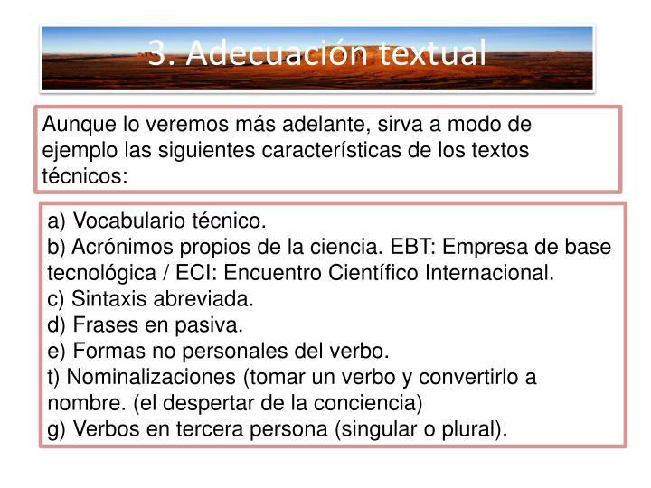 3. Adecuación textual