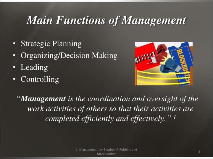 Main functions of management