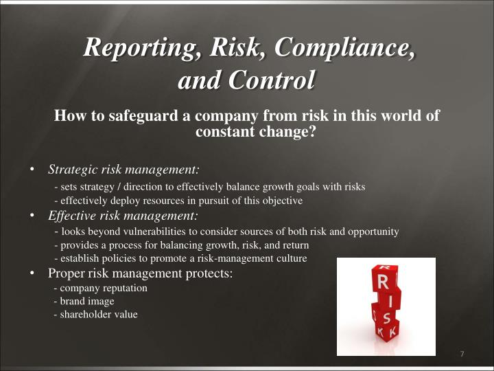 Reporting, Risk, Compliance,
