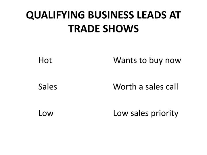 QUALIFYING BUSINESS LEADS AT TRADE SHOWS