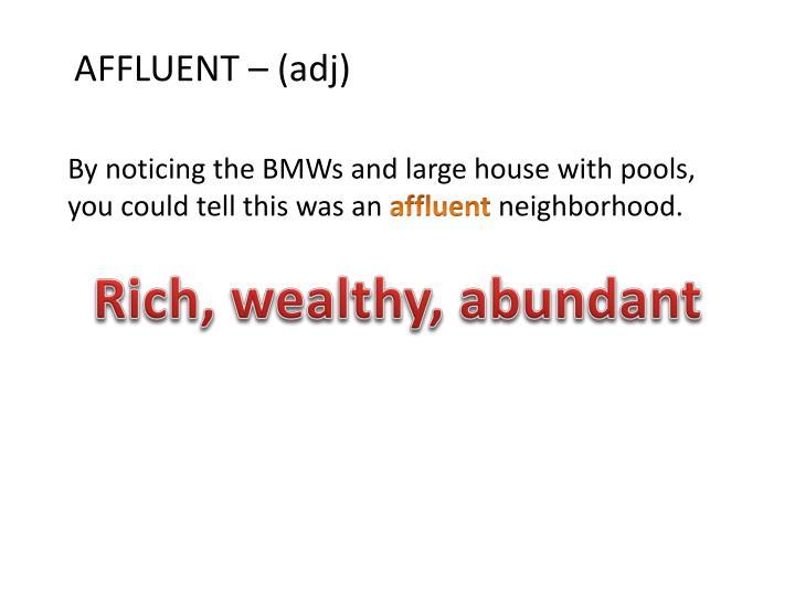 AFFLUENT – (adj)